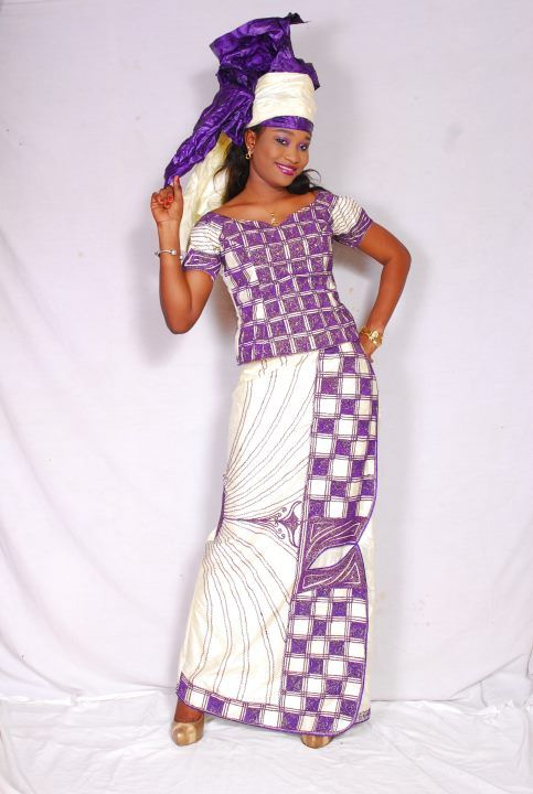Mauve and white African women's brocade outfit
