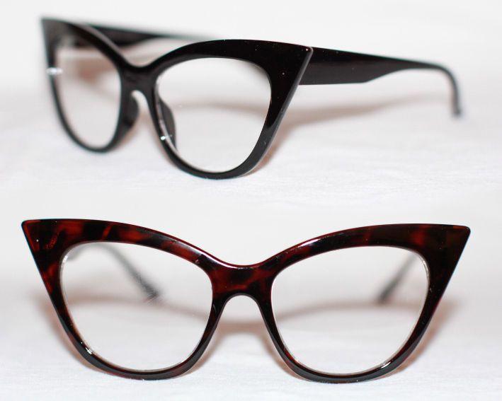 Cat Eye Nerd Brille Rockabilly Pinup 50er Jahre 50 s RAR Klarglas Hornbrille 972