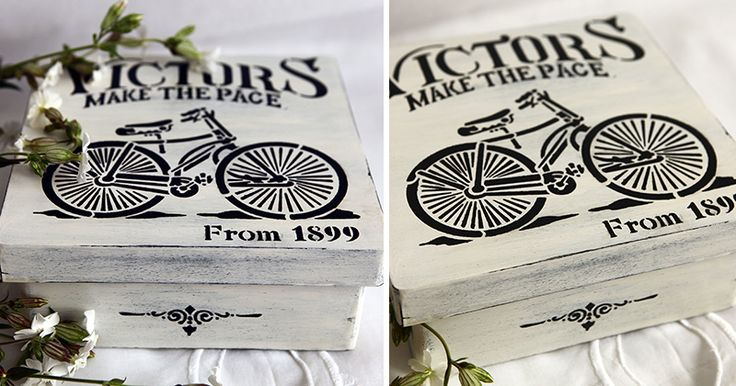 Buy Wooden box in FRENCH-VINTAGE STYLE. BICYCLE.Idea for gift. - white