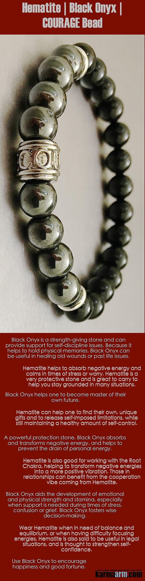 Hematite is good for working with the #Root #Chakra, transforming negative energies into positive #vibrations. Those in #relationships can benefit from the cooperation #vibe coming from #Hematite. #Courage #Onyx #black  #Law #Attraction #LOA #Love #Beaded #Bracelet #Yoga #Chakra #Mala #Stretch #Meditation #handmade #Jewelry #Energy #Healing #gratitude #gifts #Crystals #Stacks #pulseiras #Bijoux #Handmade #Reiki #Mala #Buddhist #Charm #Mens #Womens #For #Her #Him #FEARLESS