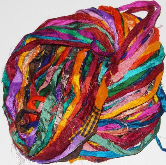 Recycled Sari Silk Ribbon Yarn multi #16 color, free