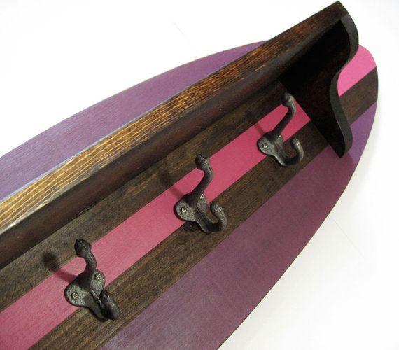 Pink Wood Surfboard Shelf Coat Rack 28 Quot Nautical Surfer