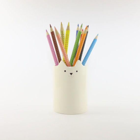 Cat Pen Pot, White Ceramics, Desk Organiser, White Cat