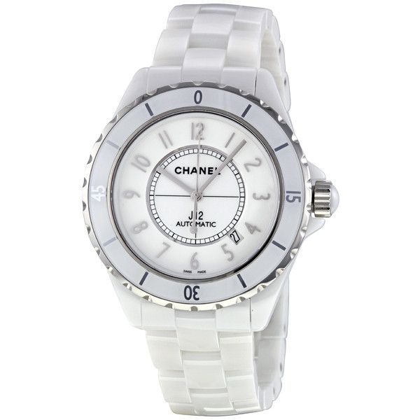 Chanel J12 White Dial Ceramic Automatic Unisex Watch ($4,995) found on Polyvore featuring jewelry, watches, chanel jewelry, ceramic bracelet, chanel bracelet, unisex watches and ceramic crowns