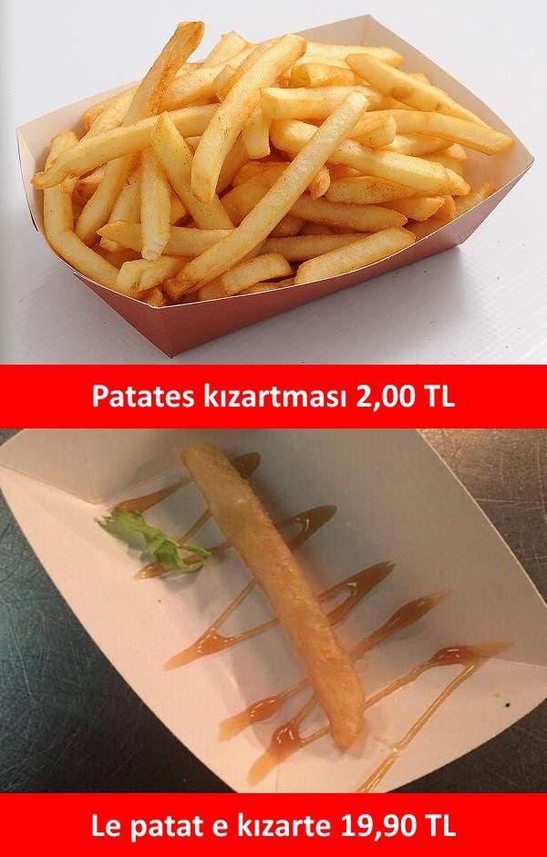 Patates kızartması 2,00 TL. Le patat e kızarte 19,90 TL. #mizah #matrak #komik…