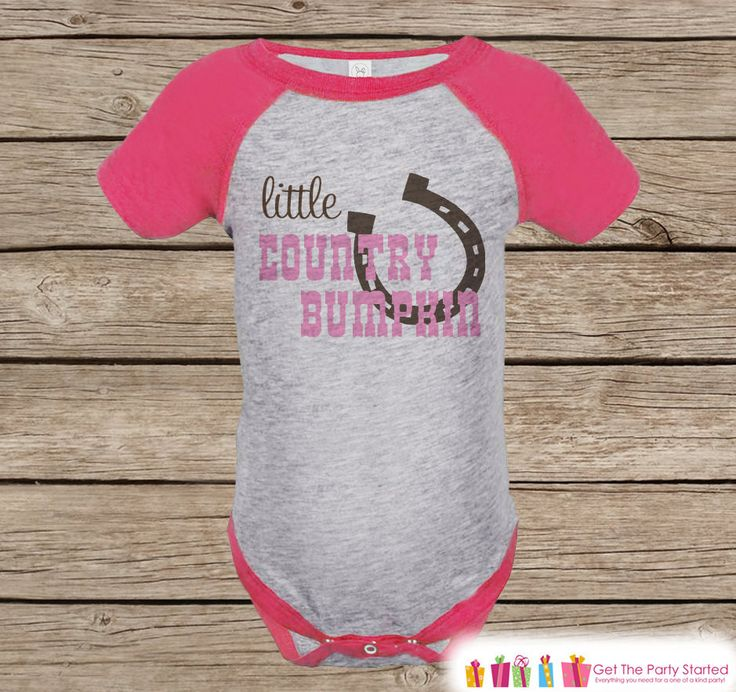 Novelty Girl's Outfit - Cowgirl Little Country Bumpkin Pink Raglan Shirt - Pink Baby Girls Onepiece or Tshirt - Novelty Raglan Tee - Western
