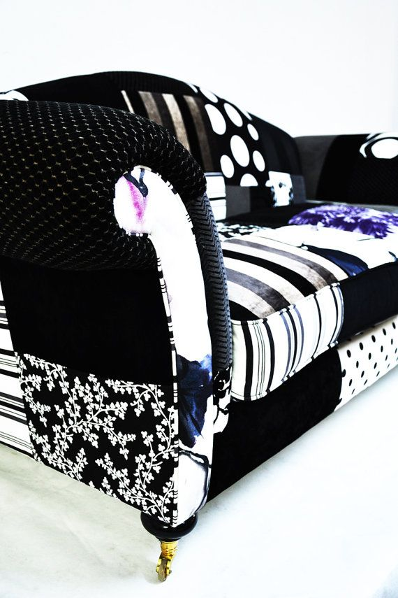 Etsy Transaction - CHRISTMAS SALE black & white patchwork sofa