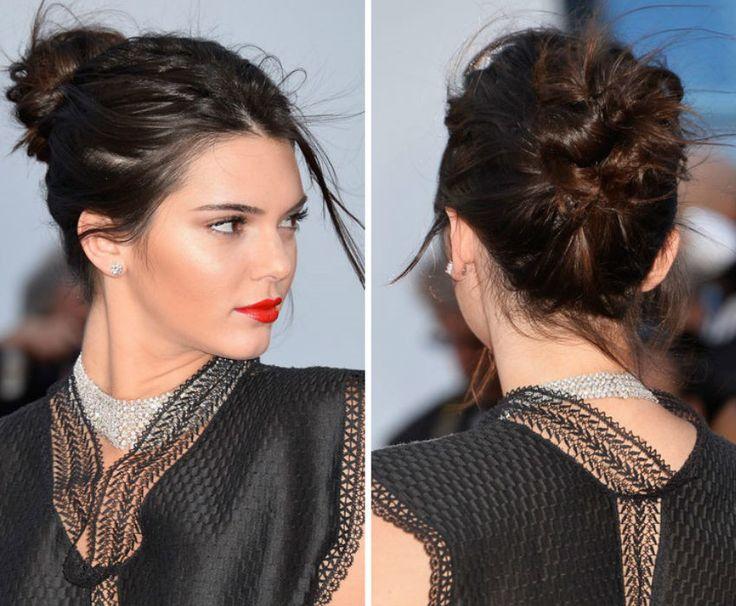 Quatro penteados fáceis usados por Kendall Jenner - coque bagunçadinho