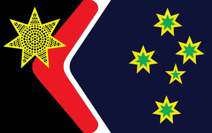 Reconciliation Australia's take on a new Aussie flag. Not a bad first draft. Keeps some elements of the old, adds some new. I think it could be simplified a bit though, I don't feel the red boomerang sits well. Southern cross feels a bit horizontally compressed.