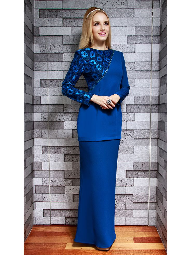 Modern Kurung with One-Shoulder Lace
