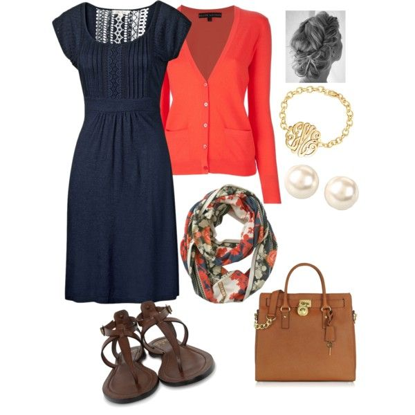 Love this coral and navy smart casual outfit!