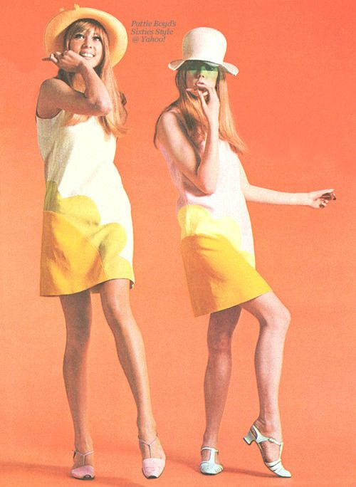 "Daisy Dresses  Circa Spring 1966 - Boyd sisters, Pattie and Jenny, looking cool for summer wearing Foale & Tuffin's ""Daisy"" dresses in ice-cream colors along with CUTEX Mini Tints lipsticks. From the Dutch magazine, Teenbeat, August 1966 issue.  Source of scan is the Pattie Boyd's Sixties Style group at Yahoo! Xx"