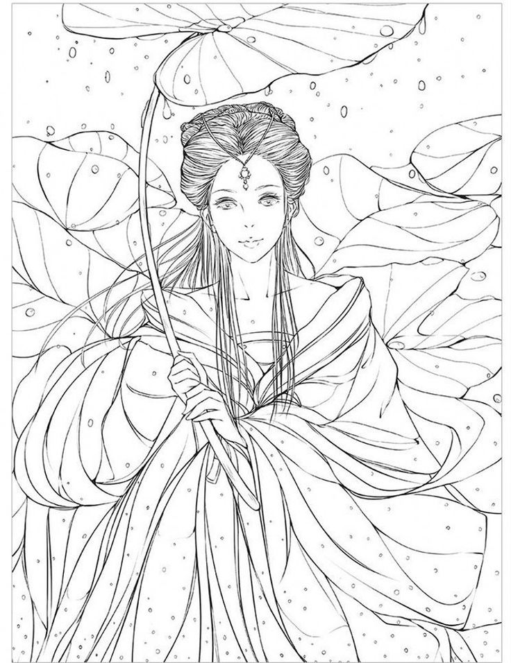 Chinese ancient figure line drawing book cartoon art ...