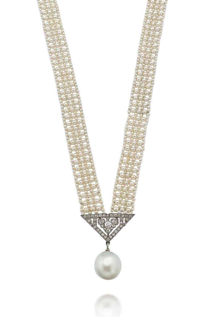 AN EARLY 20TH CENTURY NATURAL PEARL NECKLACE, BY CARTIER - The woven seed pearl necklace with rose-cut diamond terminals suspending an associated single natural pearl drop with triangular shaped millegrain-set diamond surmount, circa 1910