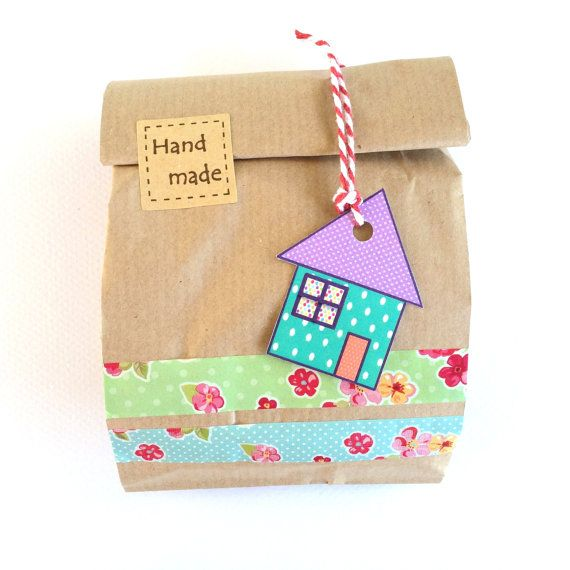 8 little houses gift tags dots tags cute gift by Dotscutesupplies