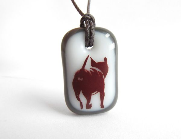 Doggy Necklace - handmade in glass by  l e i l a c o o l s
