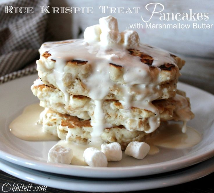 Rice Krispie Treat Pancakes With Marshmallow Butter Sauce