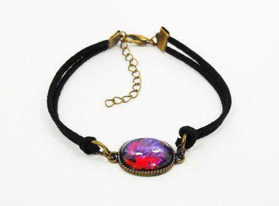 Dragon's Breath Fire Opal, Fire Opal Bracelet, Leather Bracelet, Dragon's Breath, Simple Bracelet, Antique Bronze Bracelet, Charm Bracelet