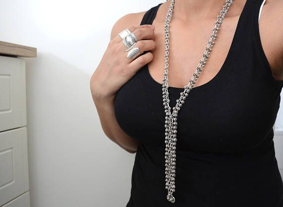 Long Turkish Antique Silver Y Chain Coin necklace Gypsy