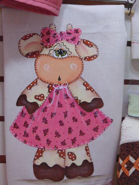 Elaine Strozi Pintura em Tecido: Pano de prato