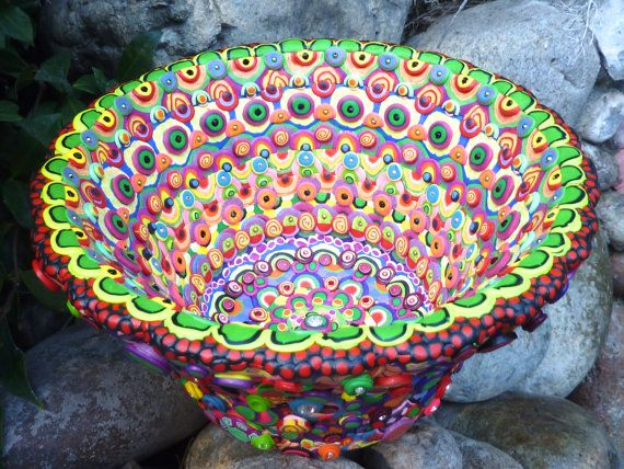 large mosaic bowl decorative upcycled glass bowl by craziehappy - Decorative Glass Bowls