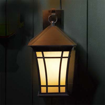 You don't have to sacrifice traditional style for contemporary energy efficiency. This Mission-style coach lantern uses a compact fluorescent bulb that can be programmed to turn on automatically as night falls. (Don't worry, Northerners: The bulb's ballast works in temperatures as low as 0 degrees F.) $283, Thomas Lighting