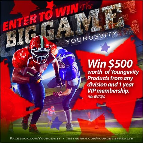 Enter the Youngevity Big Game Giveaway for a Chance to Win a $500 Shopping Spree at Youngevity! Be the Winner if Your Team Wins the Big Game this Year! Enter with me now!