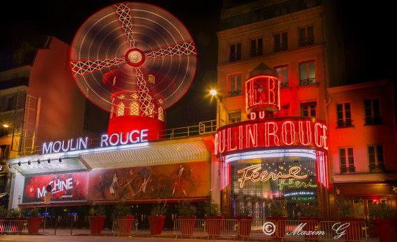 Paris moulin rouge night photography nightclub