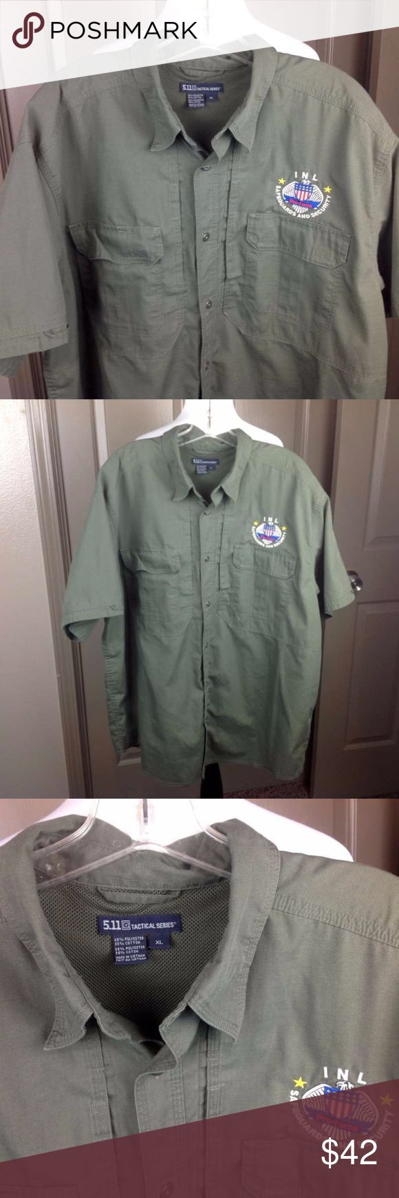 511 Tactical Series Shirt XL Vented Pro Force Patc Great Condition; 511 Tactical Series Shirt XL Vented Button Down Pockets Army Green  Pro Force INL Safeguards and Security Embroidered Patch; Cotton Blend; 32 inch length 27 inch across chest 511 Tactical Shirts Casual Button Down Shirts