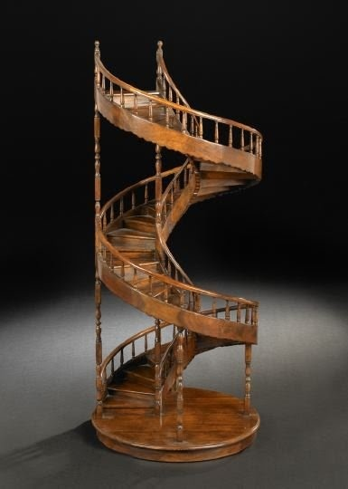 "Mahogany Architectural Model of a Spiral Staircase, with spindled banister, h. 41"", dia. 17"""