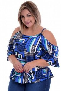 Blusa Plus Size Print Blue