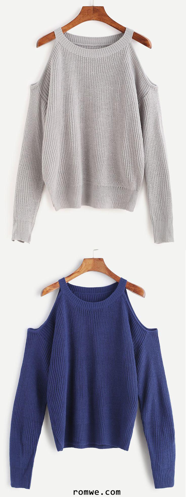 Dark Blue Open Shoulder Knit Sweater