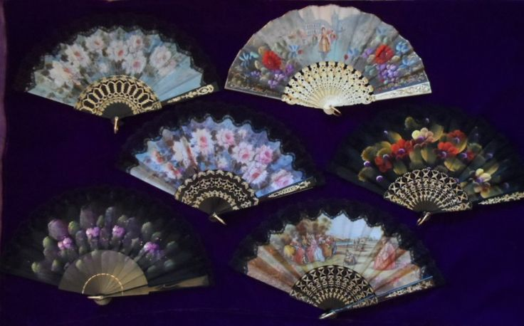 A Collection of 17 Assorted as New SPANISH Black & White Lace Fans - by AntiquesEtCetera13 on Etsy