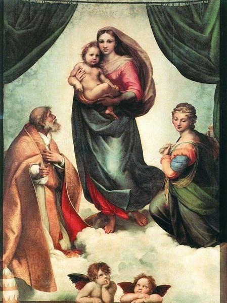 2005.06 // Rafael (Raffaello Santi, zwany też Sanzio), Madonna Sykstyńska, olej na płótnie, 1513–1514, Gemäldegalerie, Drezno