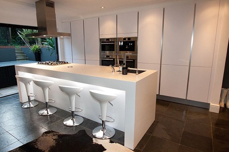 Modern kitchen island with breakfast bar and LED lighting