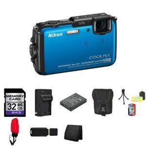 Best Buy Nikon COOLPIX AW110 Digital Camera (Blue) 26411 + 32GB SDHC Class 10 Memory Card