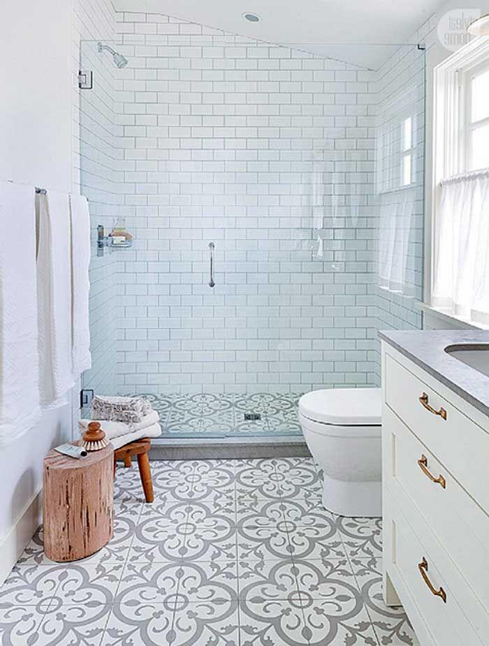 Badezimmer ideen fliesen mit schön bodenfliesen muster und weiss ...