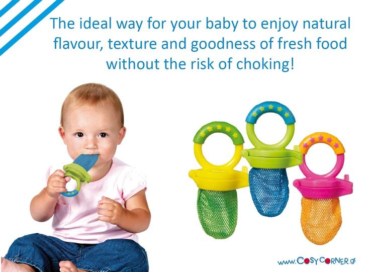 Το μωρό σας μπορεί να απολαύσει φρέσκιες τροφές ακίνδυνα. Εύκολη χρήση. Το χερούλι είναι τεχνολογία Sure Grip™ για να μπορεί να το κρατά το μωρό σας εύκολα, ενώ είναι τέλειο και ως μασητικό. http://www.cosycorner.gr/el/category/ώρα-για-φαγητό/τροφοδότης-φρέσκιας-τροφής-μασητικ/