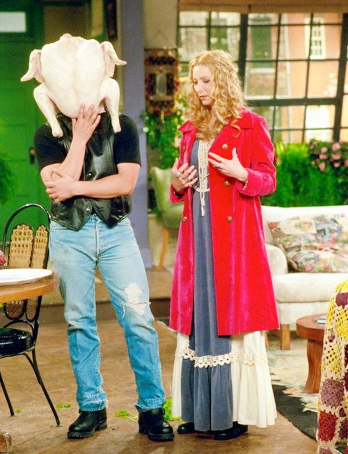 Joey gets a turkey stuck on his head. #friends