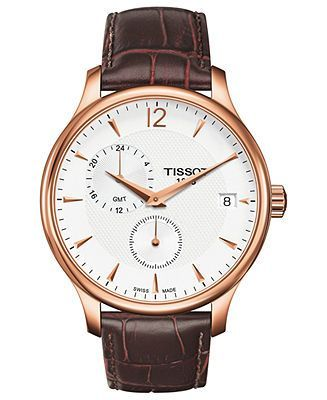 Tissot Watch, Men's Swiss Tradition Brown Leather Strap 42mm T0636393603700 - Men's Watches - Jewelry & Watches - Macy's - brands of watches for mens, best mens brand watches, mens watches