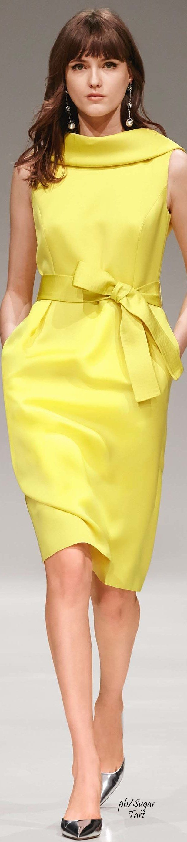 This yellow is not so mellow. A modern vintage look can be yours at http://www.thevintagelighthouse.com/ Escada Resort 2017 ss
