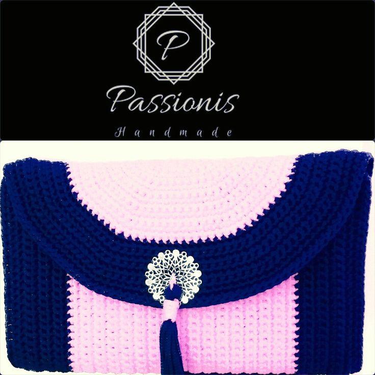 crochet clutch bag navy blue-pink