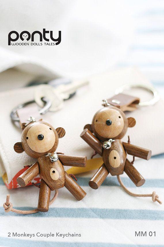 Ponty Dolls : 2 Monkeys Couple Keychains code MM 01 by PontyDolls