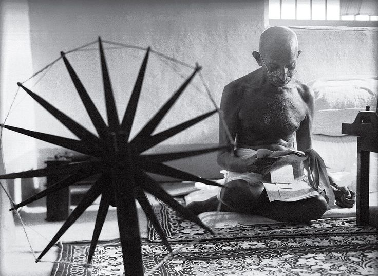 Gandhi and the Spinning Wheel by Margaret Bourke-White