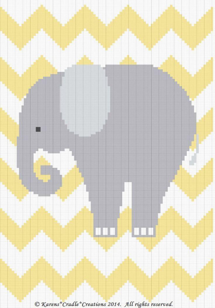 Crochet Patterns Elephant Chevron Baby Graph Chart