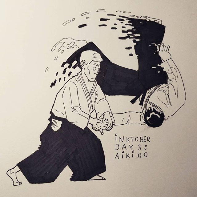 #inktober day 3: Aikido. #inktober2016 #art #illustration #ink #inking #blackandwhite #instart #martialarts #fight #japan #grappling #fighting #drawing #doodle