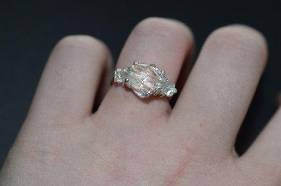 Diamond Engagement Ring Raw Diamond Ring Size 7 by Avello on Etsy