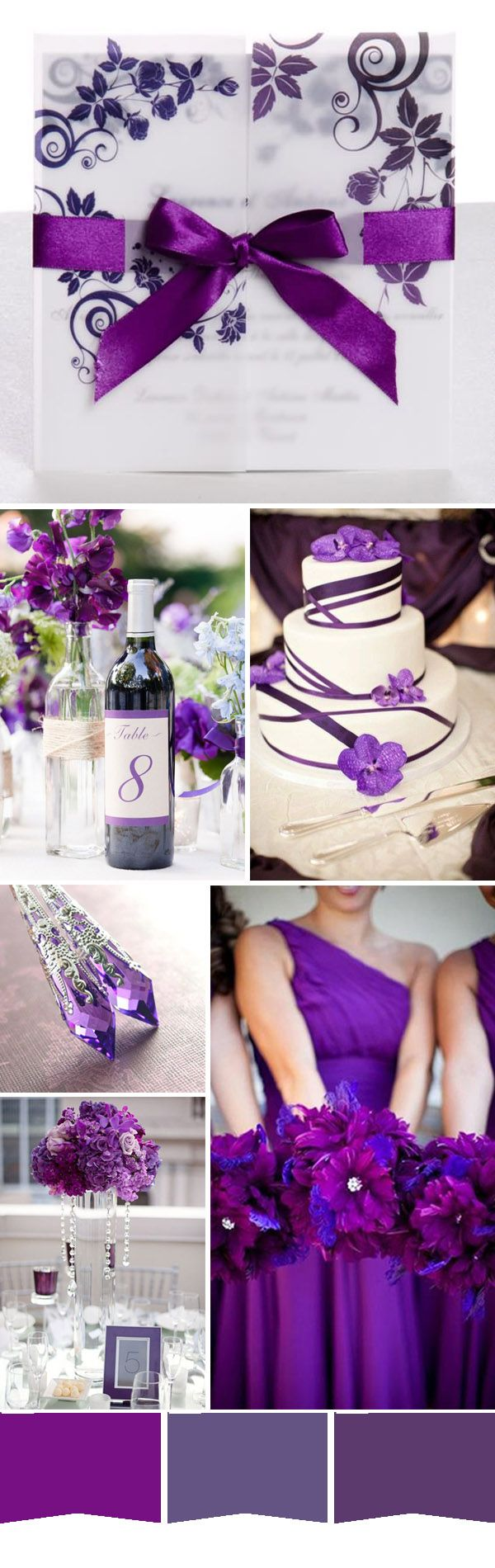 gorgeous bright purple spring wedding color ideas and wedding invitations