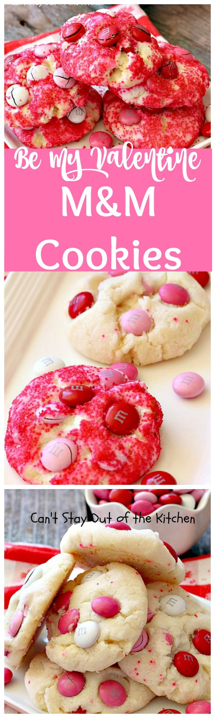 Be My Valentine M&M Cookies | Can't Stay Out of the Kitchen | Paradise Cafe copycat