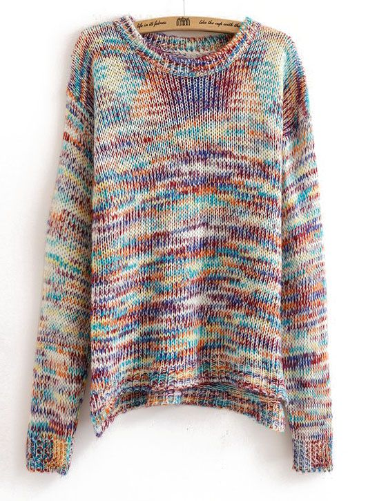 Multicolor Dip Dye Dropped Shoulder Chunky Knit Sweater - Sheinside.com